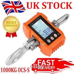 1000KG 1Ton 2000LBS Digital Crane Scale Heavy Duty Hanging High Precision Orange