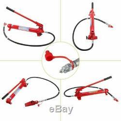 10 Ton Capacity Porta Power Hydraulic Bottle Jack Ram Pump Auto Repair Tool Kit