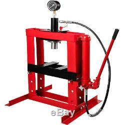 10 Ton Hydraulic Shop Press Floor Stand Jack 178mm Stroke Heavy Duty With Gauge
