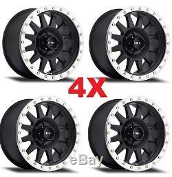 18 18x9 Method Mr304 Wheels Rims Matte Black 8x165.1 8x6.5 XD Moto Fuel Grid