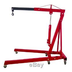 2 TON ENGINE HOIST 4000lb Heavy Duty Cherry Picker Stand with Folding Legs- Red