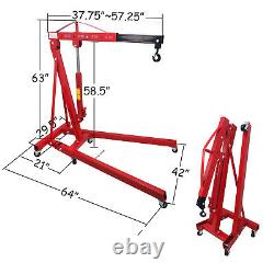2 TON Red 4400lb Heavy Duty Engine Motor Hoist Cherry Picker Shop Crane Lift