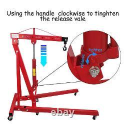 2 TON Red 4400lb Heavy Duty Engine Motor Hoist Cherry Picker Shop Crane Lift USA