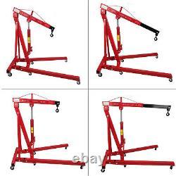 2 TON Red 4400lb Heavy Duty Engine Motor Hoist Cherry Picker Shop Crane Lift US