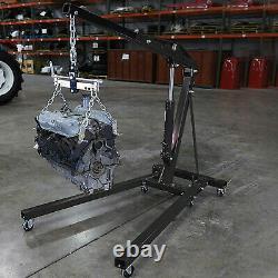 2 Ton Black 4400lbs Heavy Duty Engine Motor Hoist Cherry Picker Shop Crane Lift