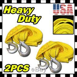 2 x 13FT 2 X 10' Heavy Duty Yellow Rope Tow Strap Hook 10K Lb 5 ton Capacity U