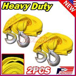 2 x 13FT (2 X 10') Yellow Rope Heavy Duty Tow Strap Hooks 10K Lb 5 Ton Capacity