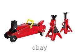 3 Piece Set 2 Ton Hydraulic Floor Jack & Stands Heavy Duty Steel Swivel Caster