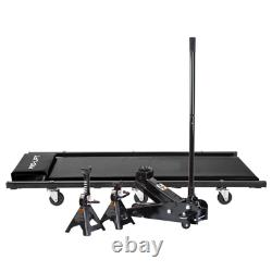 3-Ton Heavy-Duty Floor Jack/Jack Stands and Creeper Combo in Black