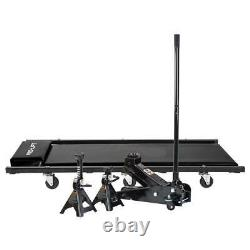 3-Ton Heavy-Duty Floor Jack/Jack Stands and Creeper Combo in Black Pro-Lift