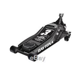 3 Ton Heavy Duty Steel Ultra Low Profile Floor Jack Rapid Pump Car Pump BLACK