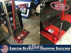 3 Ton Heavy Duty Steel Ultra Low Profile Floor Jack Rapid Pump Universal Joint