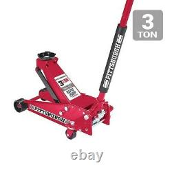 3 Ton Steel Heavy Duty Floor Jack withRapid Pump Extrawide Casters Universal Joint