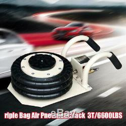 3 Ton Triple Bag Air Pneumatic Jack 6600 lbs Heavy Duty 6.8-18 High Lift