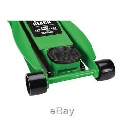 3 ton Long Reach Low Profile Steel Heavy Duty Floor Jack with Rapid Pump Green