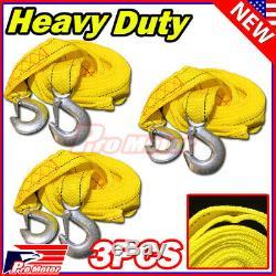 3 x 13FT (2 X 10') Yellow Rope Heavy Duty Tow Strap Hook 10K LB 5 Ton Capacity