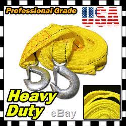 4M 13FT 2 X 10' Yellow Rope Heavy Duty Tow Strap Hooks 10k Lb 5 ton Capacity U