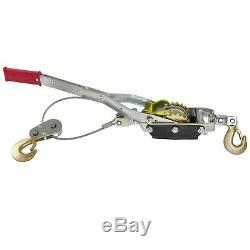 4 Ton Hand Power Wired Cable Puller Winch Turfer Pulley Soft Grip Handle TE694