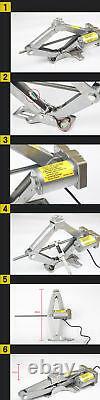 Car Jack Lift 12V 5 Ton Electric Scissor Floor Jack Impact Wrench Tire Tool Kit