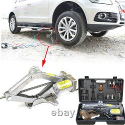 Car Jack Lift 5Ton Electric Scissor Floor Jack Impact Wrench Tire Kit with battery