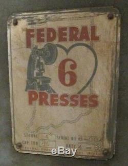 Federal Punch Press 65 Ton #6 OBI Used Heavy Duty