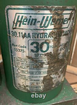 Hein Werner 30 Ton Hydraulic Bottle Jack USA Made 30.11AA Heavy Duty
