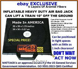 MattJack 22 Ton Lift Capacity Heavy Duty New Air Bag Jack 5 Layers Aramid Fibers