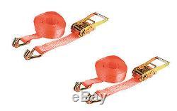 PAIR 5000kg 50mm x 2m Heavy Duty RATCHET STRAP Tie Down 5 Ton (6250kg webbing)