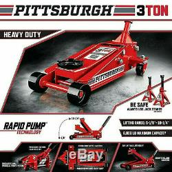 Pittsburgh 3 Ton HeavyDuty Floor Jack w Rapid Pump Garage Shop Home Lifting Jack